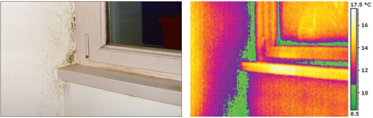 Esempio di ponte termico morfologico in prossimità del contorno telaio finestra