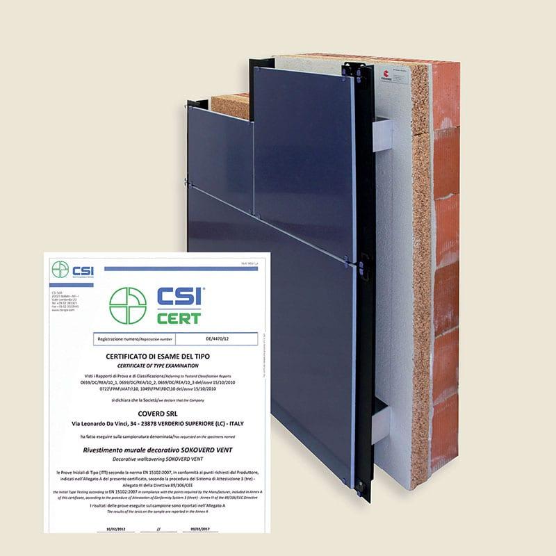 Certificato per la reazione al fuoco in Euroclasse B-s1-d0 Certificazione che avvalla l'idoneità di impiego del pacchetto isolante per la reazione al fuoco in classe B-s1-d0 in accordo alla decisione della Commissione europea 2000/147/CE e con la direttiva del Ministero degli Interni con lettera circolare del 31/03/2010 Prot.n. DCPS/A5 – 0005643 inerente alla Guida Tecnica su: Requisiti di sicurezza antincendio delle facciate negli edifici civili (comma 2.2 e 5).