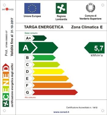 Targa Energetica Classe A