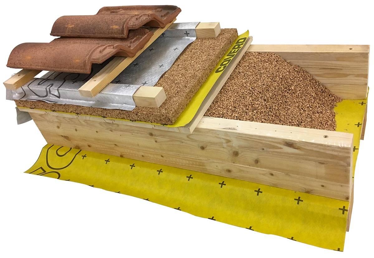 Copertura in legno con strato separatore traspirante KoSep.G, creazione di un secondo assito distanziato da listoni con riempimento di granuli in sughero biondo naturale SugheroLite, strato separatore traspirante KoSep.G di pannelli in sughero biondo naturale supercompatto SoKoVerd.LV, listellatura in legno per la ventilazione, strato separatore termoriflettente KoSep.IR e manto di copertura con portacolmo ventilato KolVent