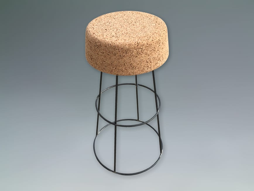 Sugherbar sgabello in metallo con seduta in sughero
