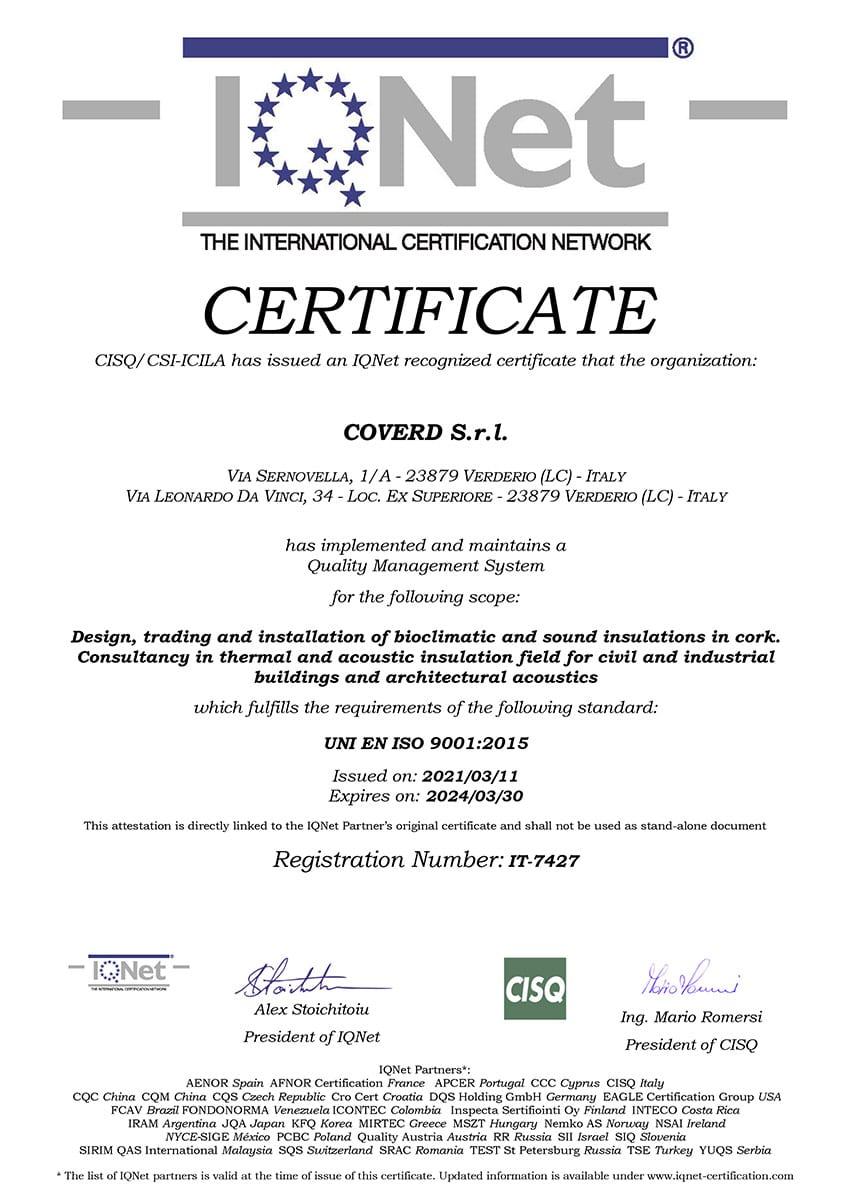 Certificato IQNET ISO 9001:2015 - Coverd