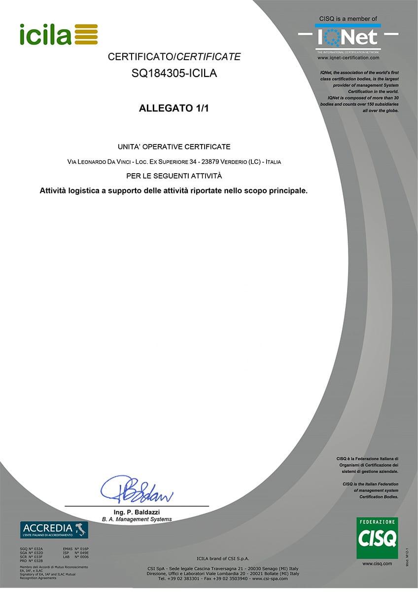 Certificato SQ184305-ICILA - Coverd